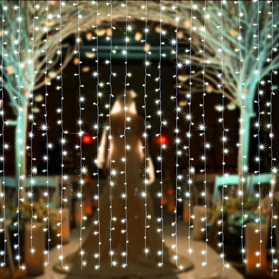 Safety voltage operated curtains Light 3Mx3M 300 LED, 8 model with memory function starry fairy lights for indoor/outdoor decorations Christmas fair Lighting for outdoor Garden, Patio, Party, Waterproof. white color