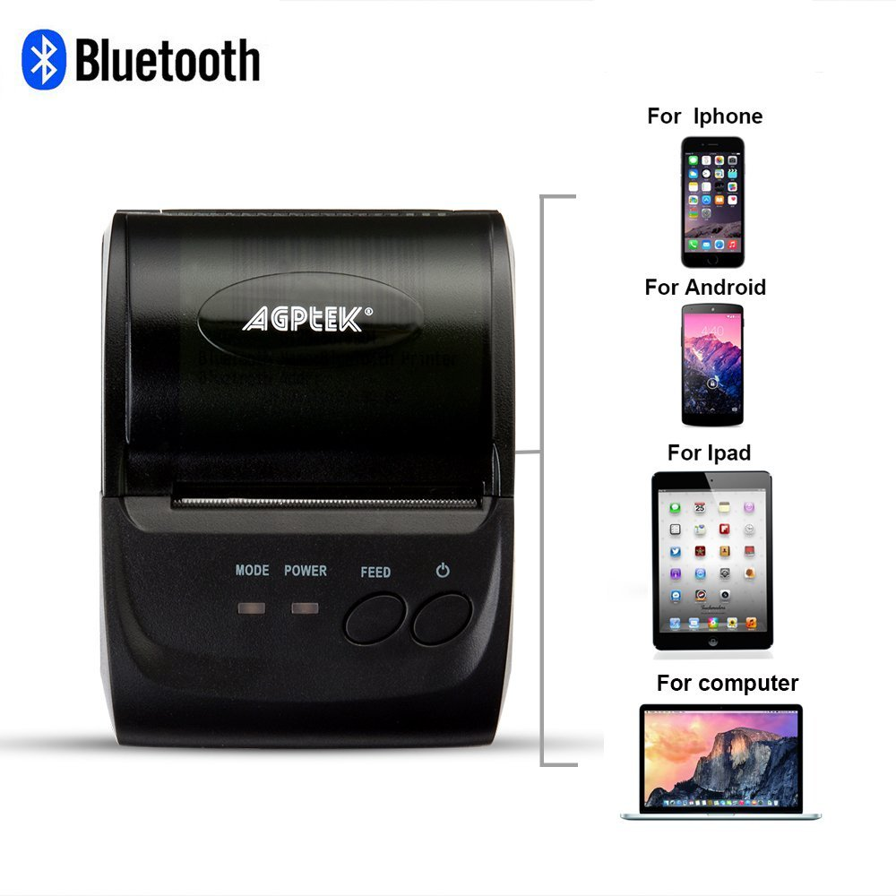 Thermal Receipt Printer, Impact Bluetooth/USB Wireless Mobile POS Receipt Printer for PC, Android, Iphone, Ipad, (Drive Software Needed), 58mm, Power by Rechargeable Battery