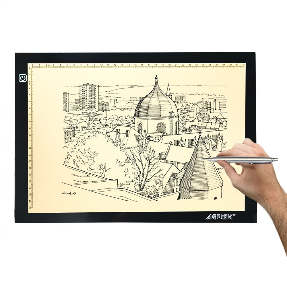 AGPtek New A4 LED Artcraft Tracing Light Pad Extra Large Active Area 12.6 x 9 inch Ultra-thin Only 5mm Stepless Brightness Control Tatoo Pad Animation, Sketching, Designing, Stencilling. (4500K - Neutral white)
