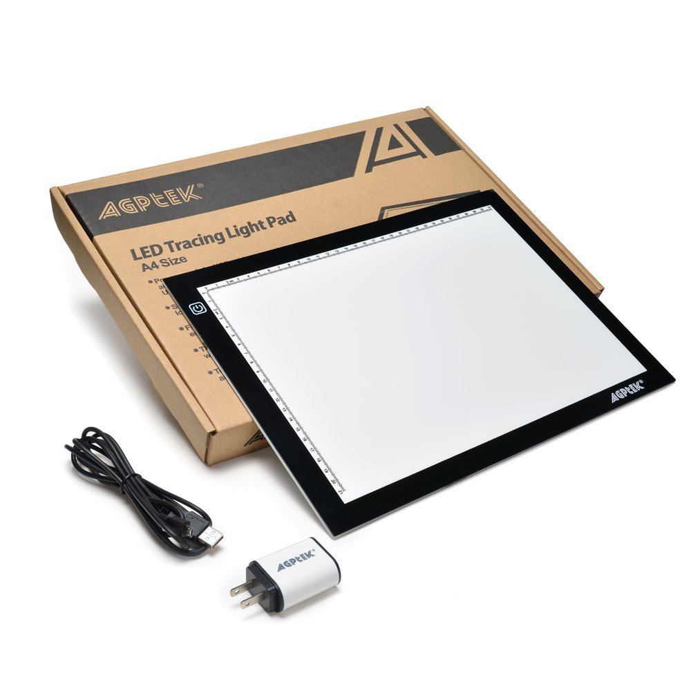 AGPtek New A4 LED Artcraft Tracing Light Pad Extra Large Active Area 12.6 x 9 inch Ultra-thin Only 5mm Stepless Brightness Control Tatoo Pad Animation, Sketching, Designing, Stencilling.(6000K -l white)
