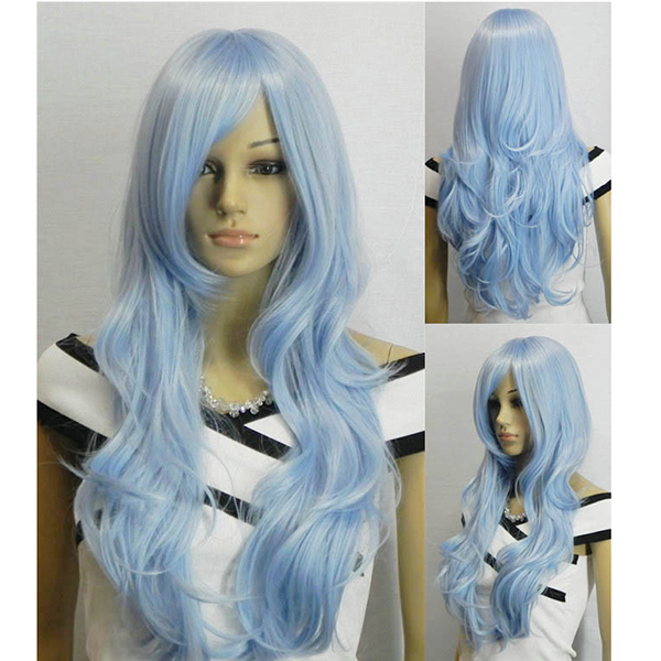AGPtek 33 inch Light Blue Heat Resistant Curly Wavy Long Cosplay Wigs