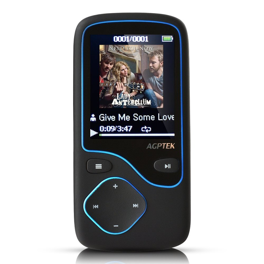 AGPTek C05 8GB Portable Bluetooth MP3 Player with FM Radio, 12 Hours Lossless Playing Support up to 64 GB (black)