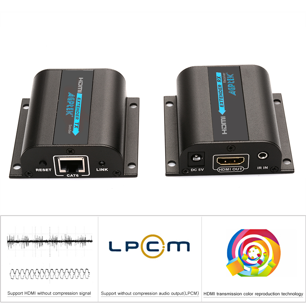 AGPtek® LKV372A HDMI Network Extender Over Single Cat6/6a/7 Ethernet Cable with IR Up To 196 Feet 60m Supports 1080P &3D, HD Audio, Deep Color - Supports 20~60KHz wide frequency IR remote control