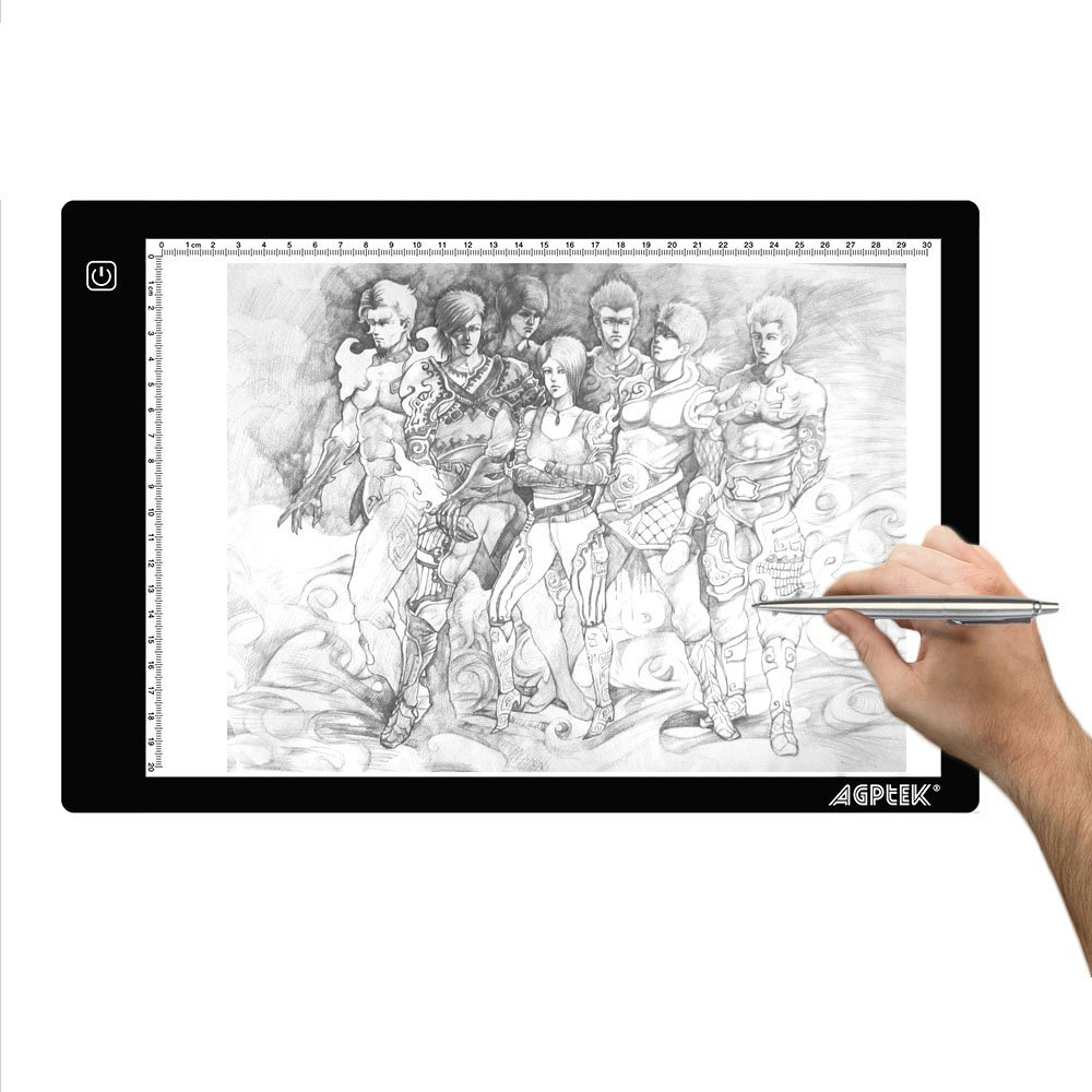 AGPtEK LED Artcraft Tracing Light Pad Light Box (A4 Size) - Ultra-thin USB Power Cable Dimmable Brightness Tatoo Pad for Aniamtion Sketching Designing Stencilling