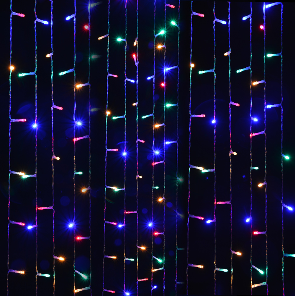Solar powered curtains Light 3Mx3M 300LED, RGB multi-color, 8 model 2400mah high capacity battery starry fairy lights for indoor/outdoor decorations Christmas fair Lighting for outdoor Garden, Patio, Party, Waterproof.