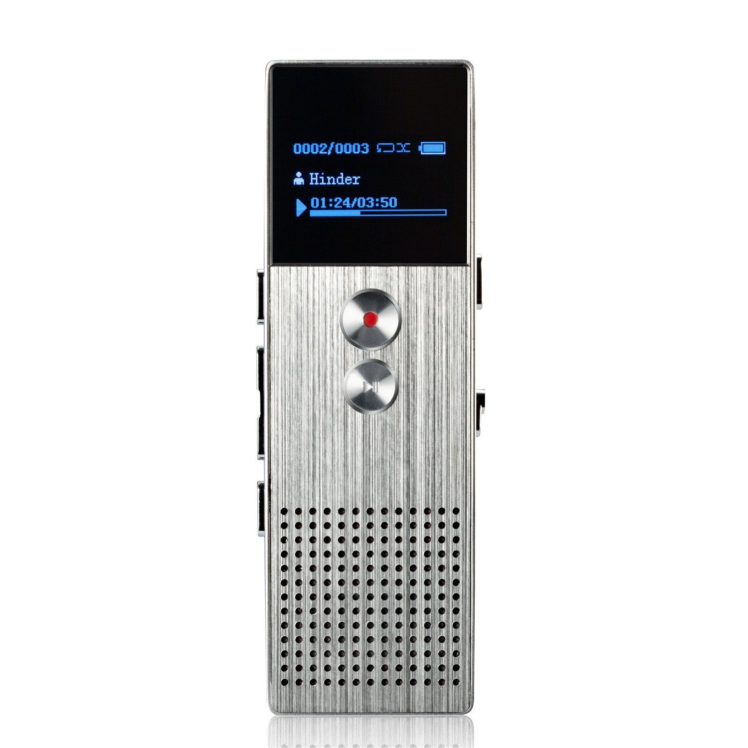 AGPtEK M23 8GB Digital Voice Recorder, MP3 Player with Built-in Speaker and FM radio options, Silver
