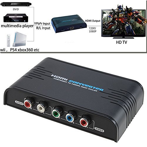 AGPtek 5RCA Component Audio Video YPbPr To HDMI Converter Adapter Scaler for PSP XBOX HDTV (Plug & Play, No Software Needed)