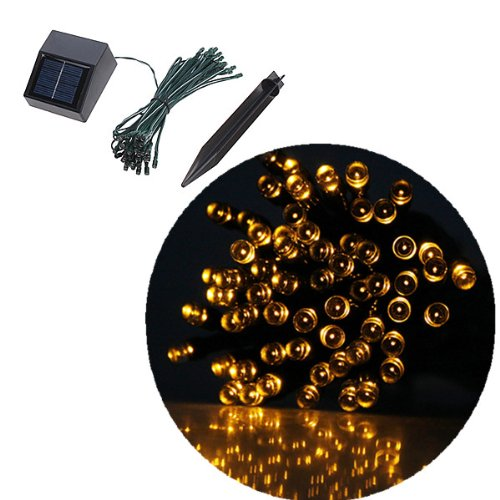 35ft 60 LED Solar String Fairy Lights Outdoor Waterproof For Ceremony Xmas Party (Yellow)