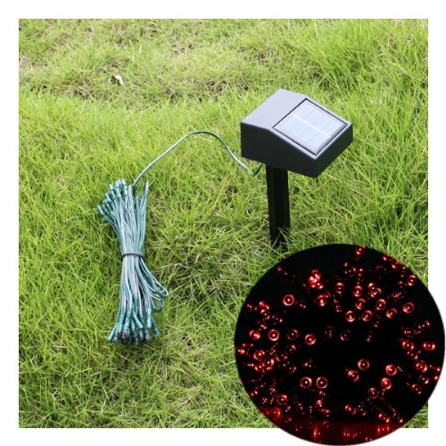 55ft 100 LED Solar String Red Lights Outdoor Garden Xmas