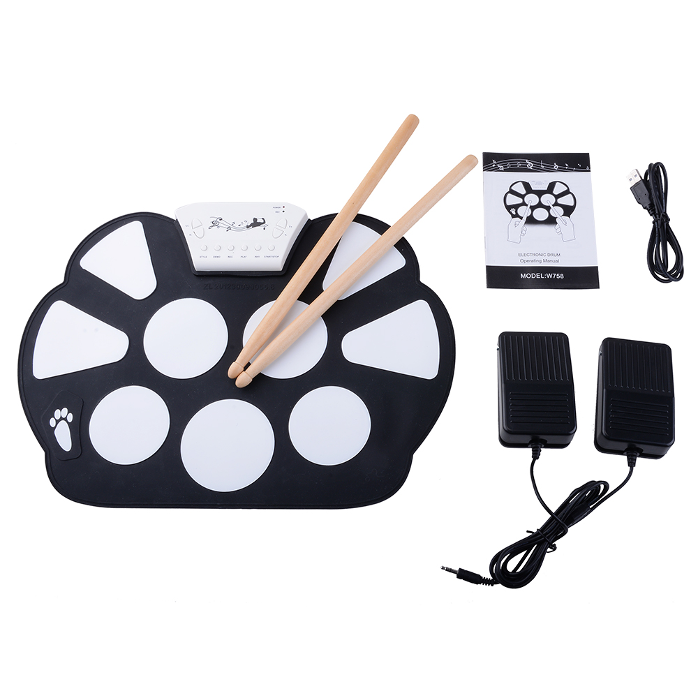 Portable Kids Roll up Electronic Digital Drum Kit with Drum Stick Foot Switch Pedal