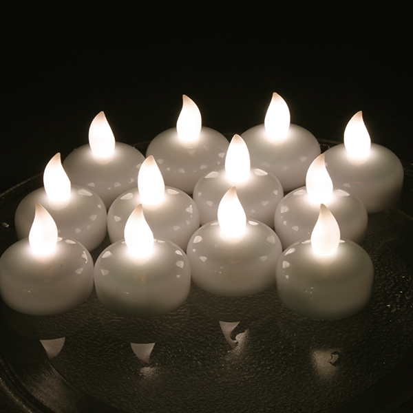 Lot 12 LED Floating Tea Waterproof Wedding Party Floral Decoration flameless Candle Warm White color.
