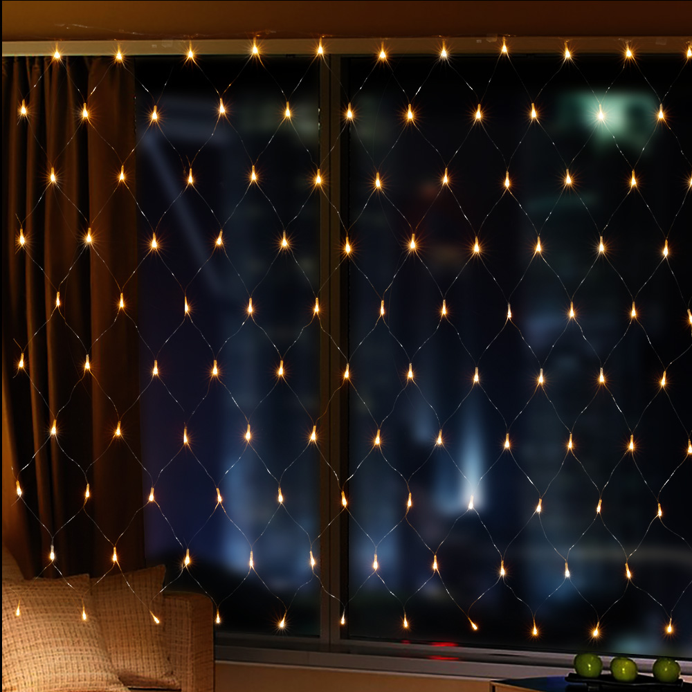 120 LED 1.5m*1.5m Net Mesh Fairy String Light Christmas net Lights connectable Lighting Party ...