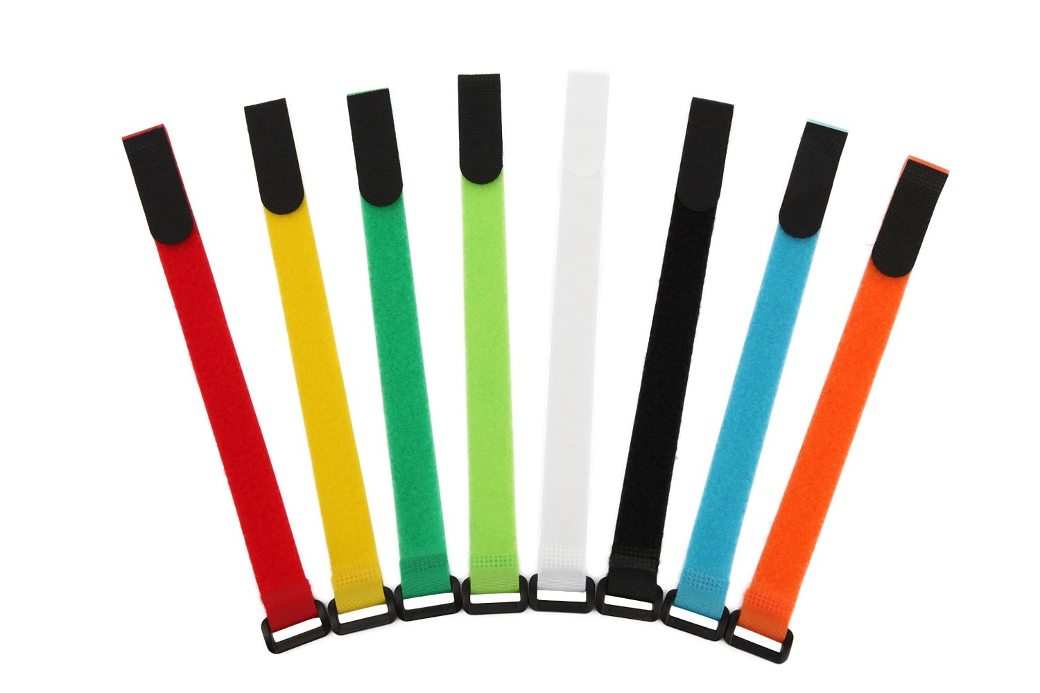 AGPtEK Colorful Nylon Reusable Velcro Cable Ties with Eyelet Holes- Set of 16, 8 Colors