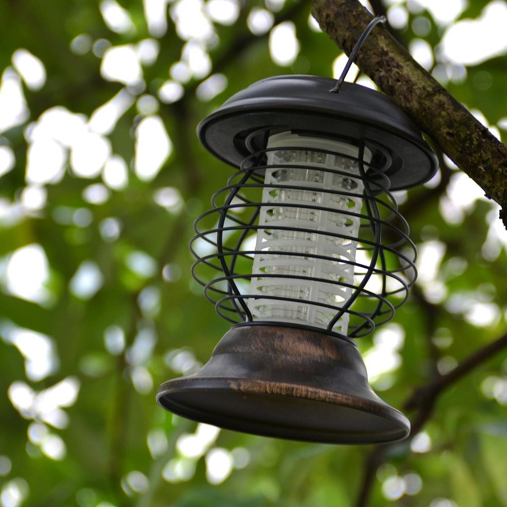 Porch Light Bug Zapper: Led Solar Garden Bug Zapper Mosquito Killer Lamp UV