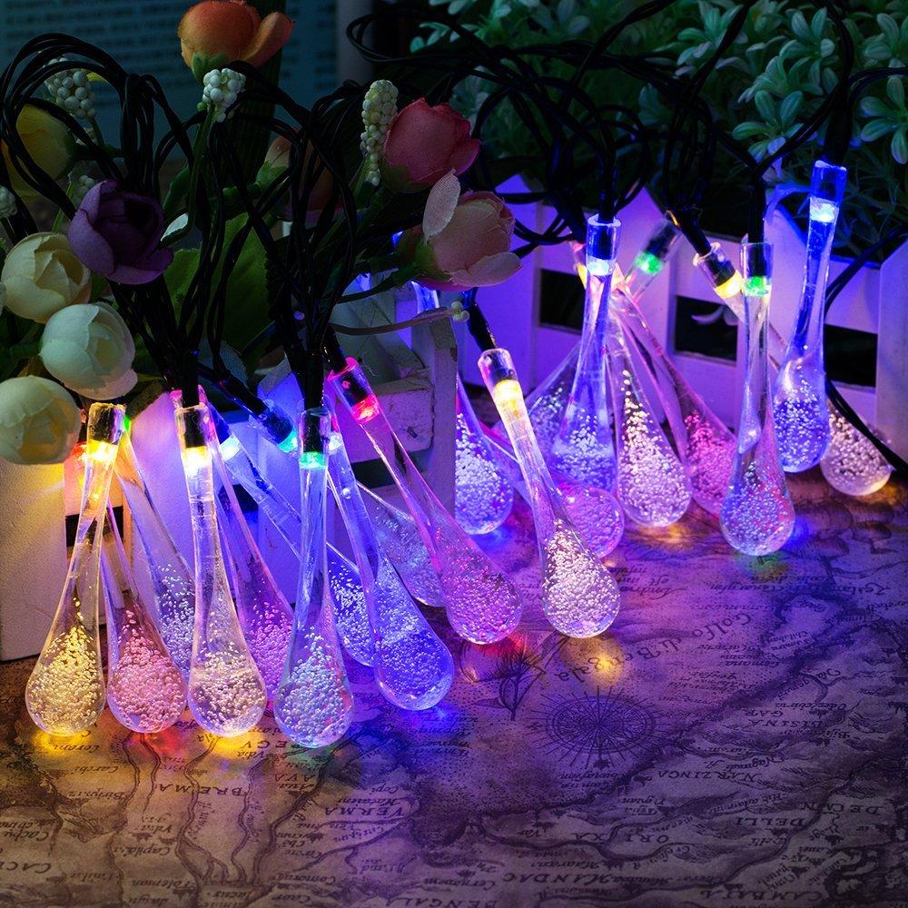 20 led waterproof crystal water drop solar string light - Luces led jardin ...