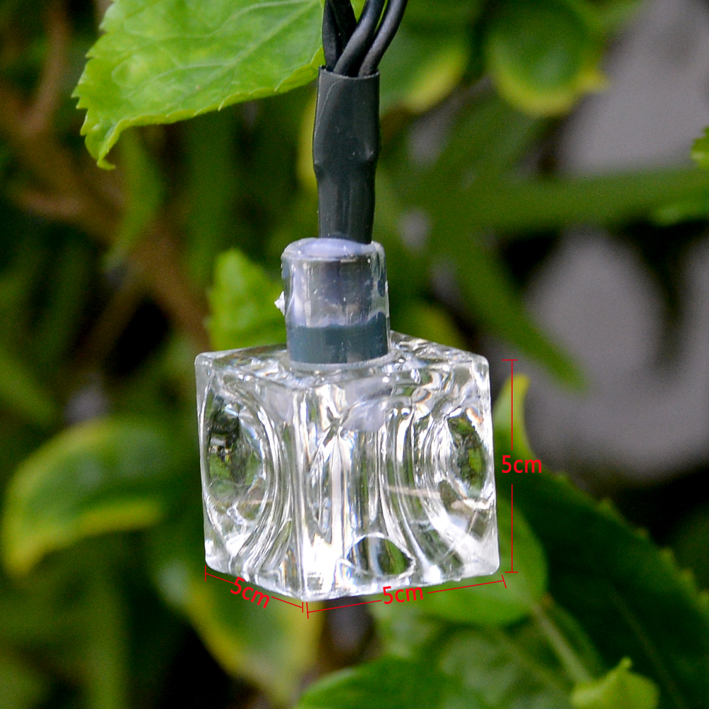 21Ft 30 LED Ice Cube Warm White Solar String Lights Fairy Lights Xmas Wedding eBay