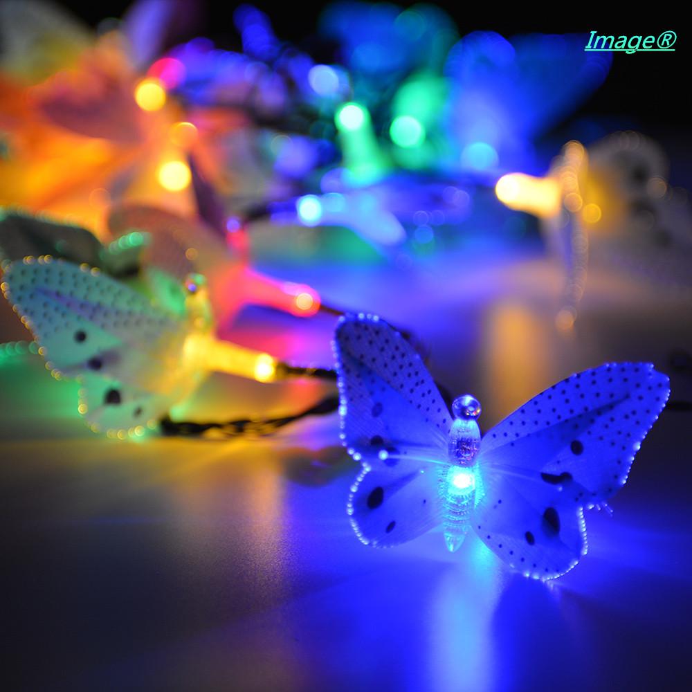 fiber optic butterfly solar string light colorful decorative lights. Black Bedroom Furniture Sets. Home Design Ideas