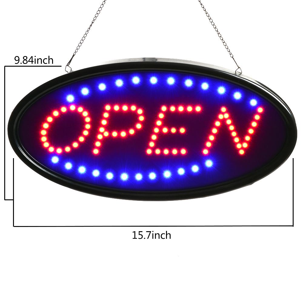agptek174 bright led open business sign neon light animated