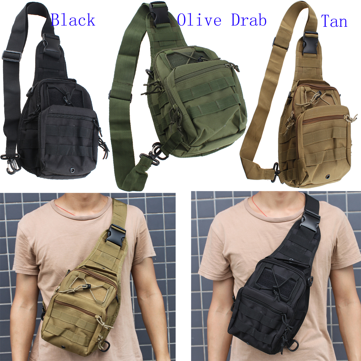Outdoor Sport Camp Hiking Shoulder Sling Bag Military Tactical ...
