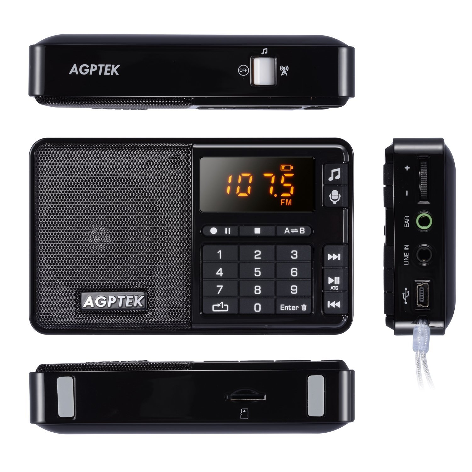 agptek mini r08 fm radio receiver rec recorder mp3 player rechargeable black new ebay. Black Bedroom Furniture Sets. Home Design Ideas
