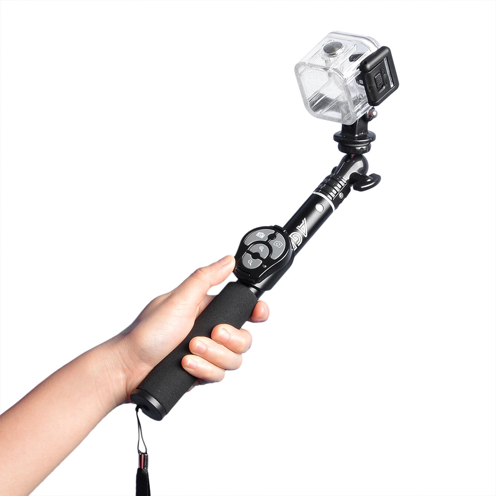 extendable selfie stick monopod with bluetooth remote shutter zoom for cellph. Black Bedroom Furniture Sets. Home Design Ideas
