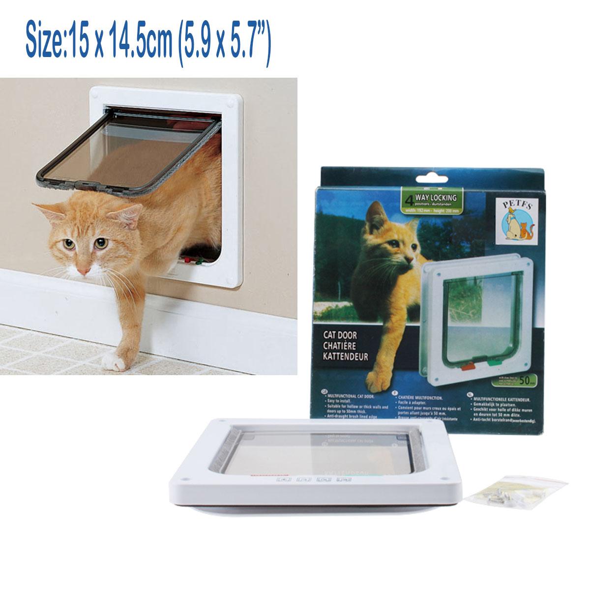 4 way medium small pet cat puppy dog magnetic lockable safe flap door gate white ebay - Safe pet dog doors ...