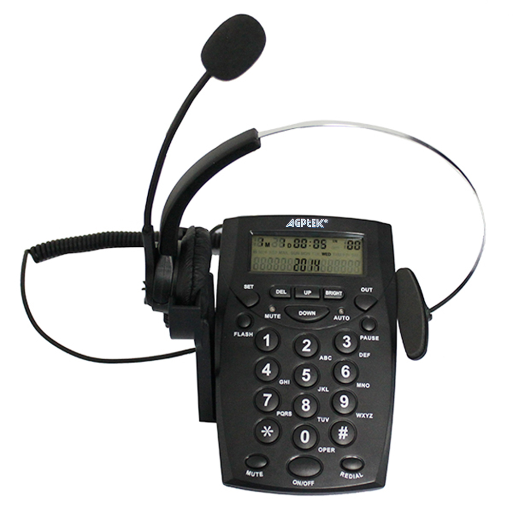 Agptek business office telephone headset system corded phone with dial key pad ebay - Phone headsets for office ...