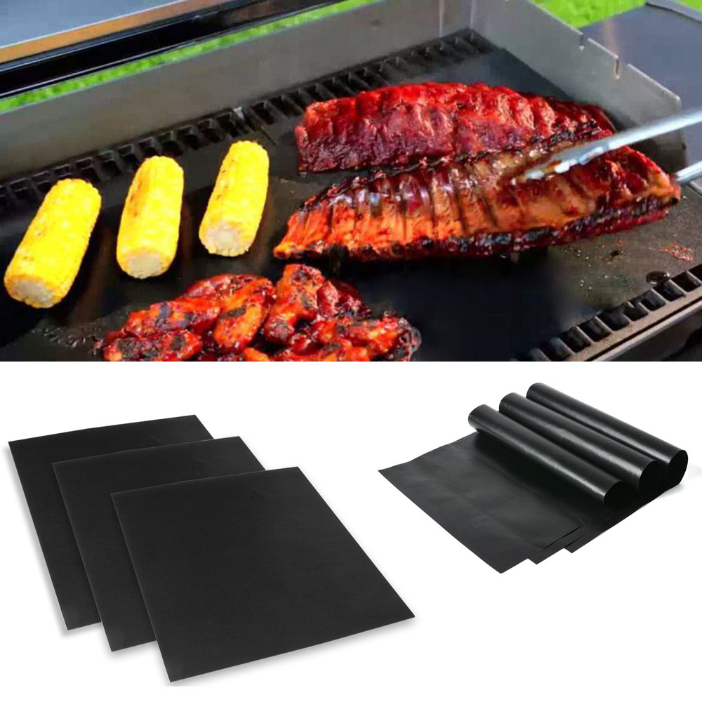 3pcs BBQ Grill Mat Cooking Outdoor Reusable Non-stick