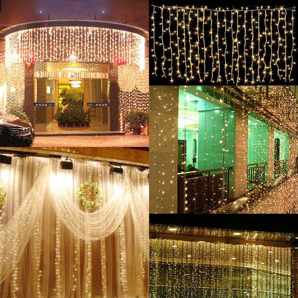3mx3m 300 Led Outdoor Christmas New Year String Fairy Wedding Curtain Light 110v Ebay
