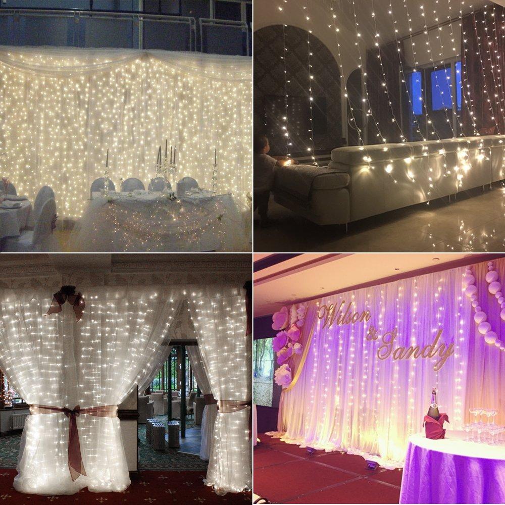 T 224 Led Xmas String Fairy Wedding Curtain Light White Christmas Decor Ebay