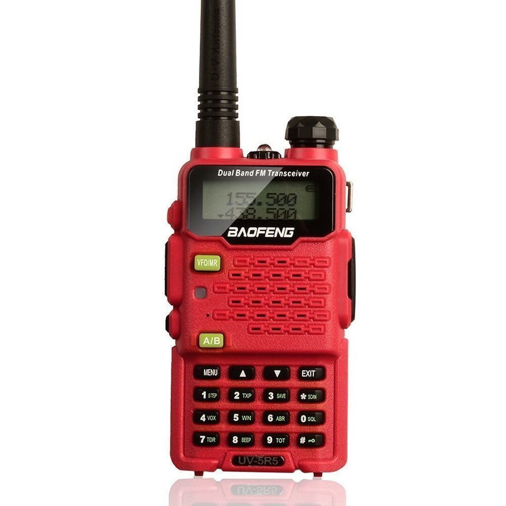 2015 Version Baofeng Walkie Talkie UV-5R5 5W Dual-Band Two-Way Ham Radio Transceiver UHF/VHF 136-174/400-520MHz,65-108MHz FM Two-Way Radio - With Upgrade Version Earpiece,Built-in VOX Function,Battery,Charger - Red, 1 Pcs