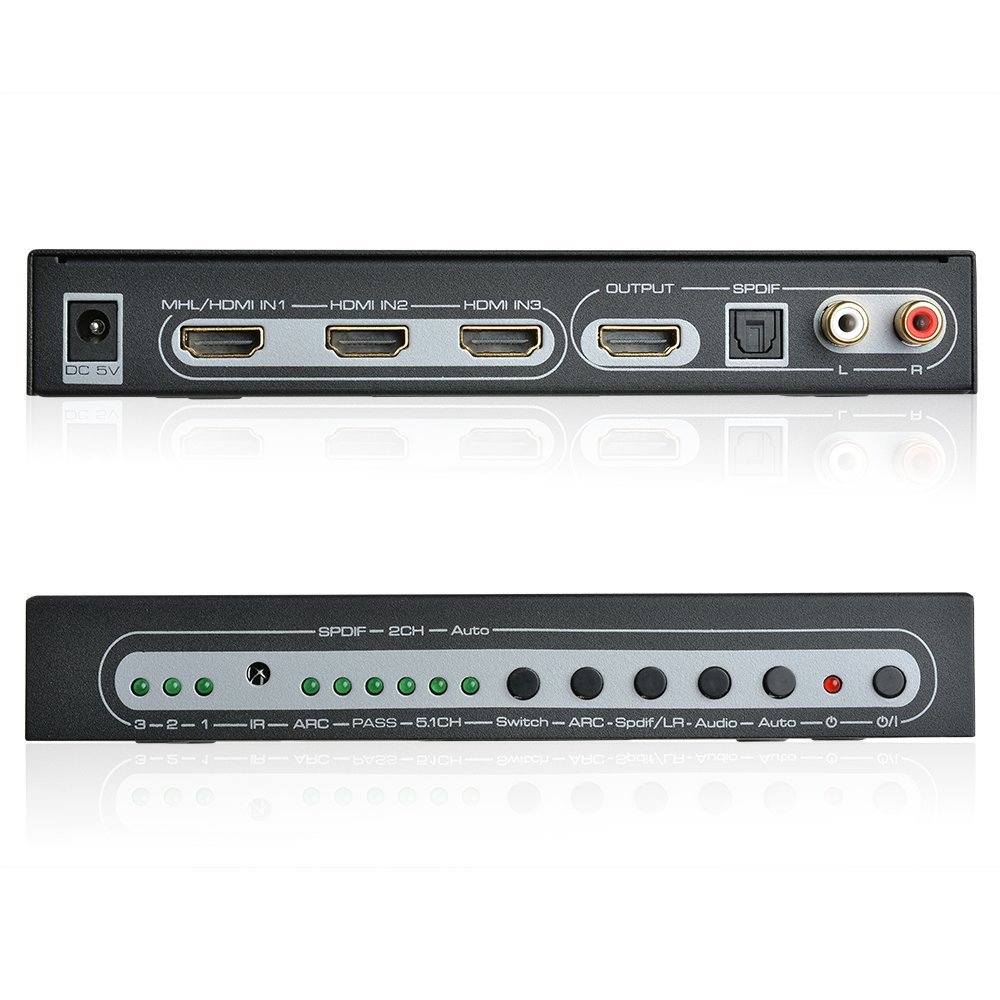 3 Port Switch HDMI MHL Audio Extractor 4K EDID 5.1CH Spdif R//L Converter Remote