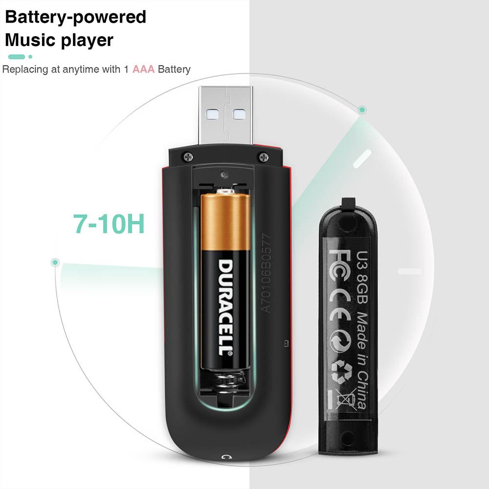 AGPTEK 16GB USB Stick MP3 Player Replaceable AAA Battery FM Radio Recorder Black