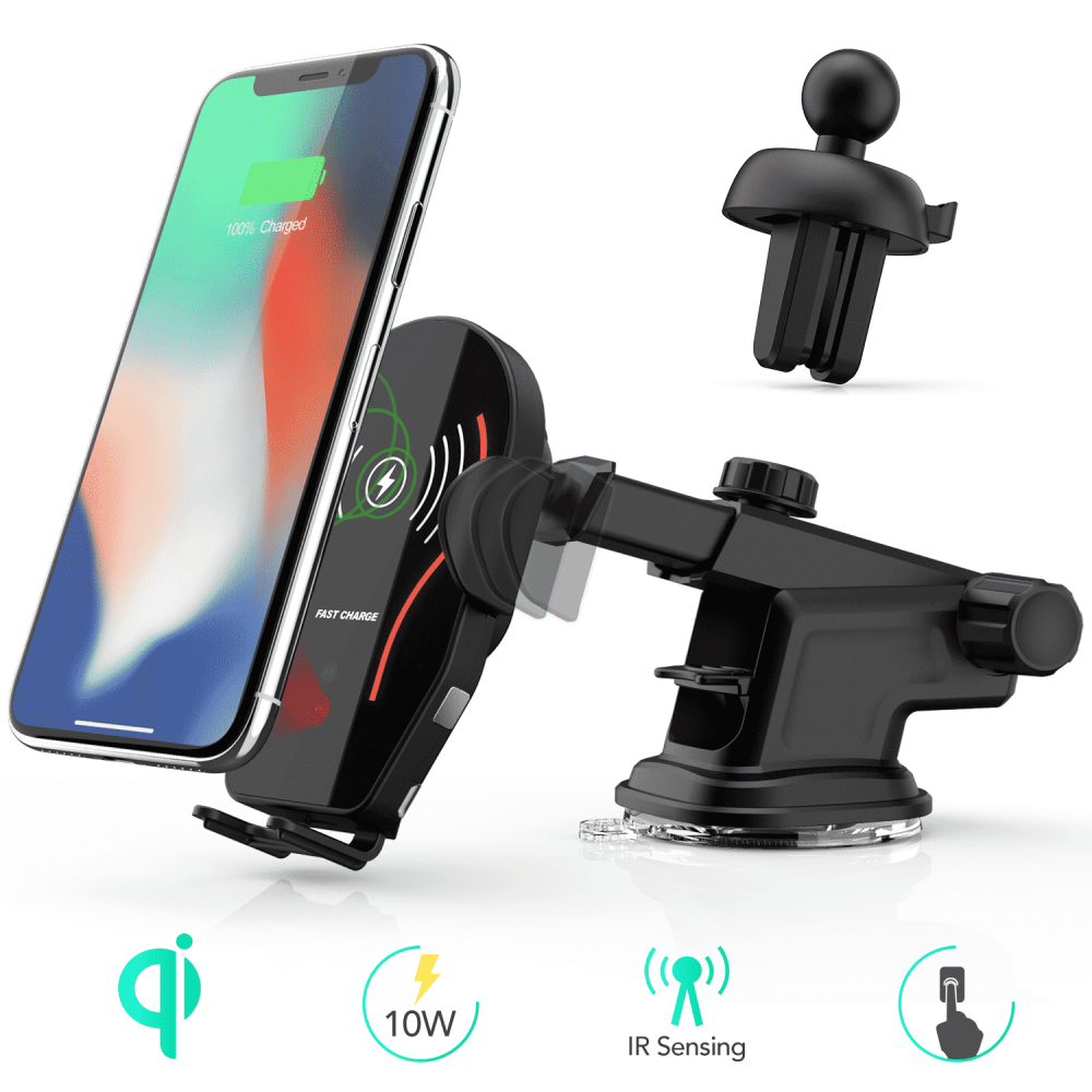 7.5w for Windshield Dashboard Air Vent Infrared Sensor Compatible with iPhone Xs Max XR XS X 8 Plus Samsung Galaxy S9 S8 S7 AGPTEK Qi Fast Charging Car Mount 10W Wireless Car Charger Auto Clamping